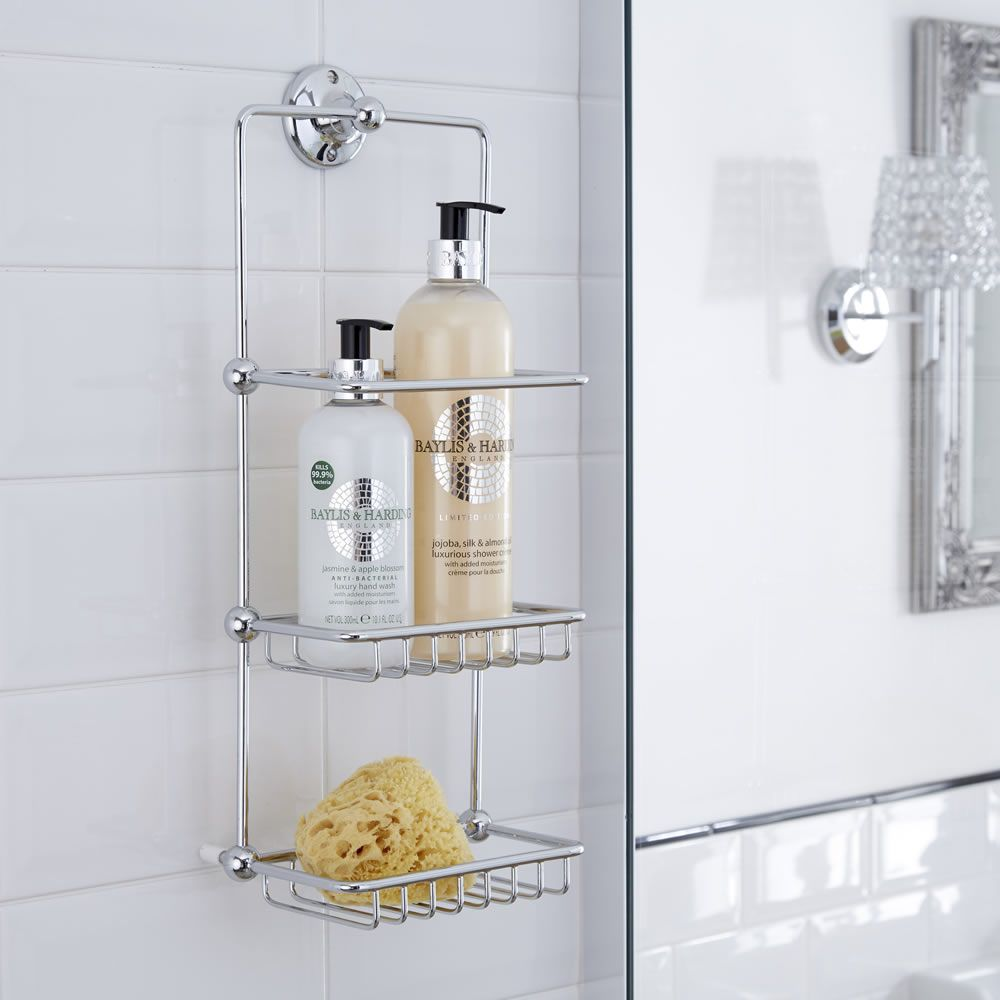 Cesta porta accesorios doble para ducha y ba era con for Accesorios para ducha