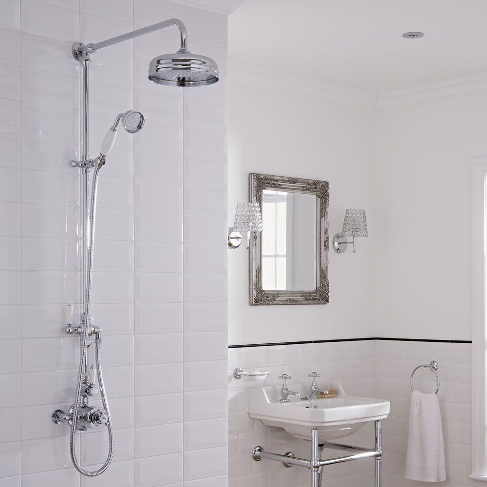 Columna de ducha tradicional con llave de ducha mezcladora for Llaves para duchas sodimac