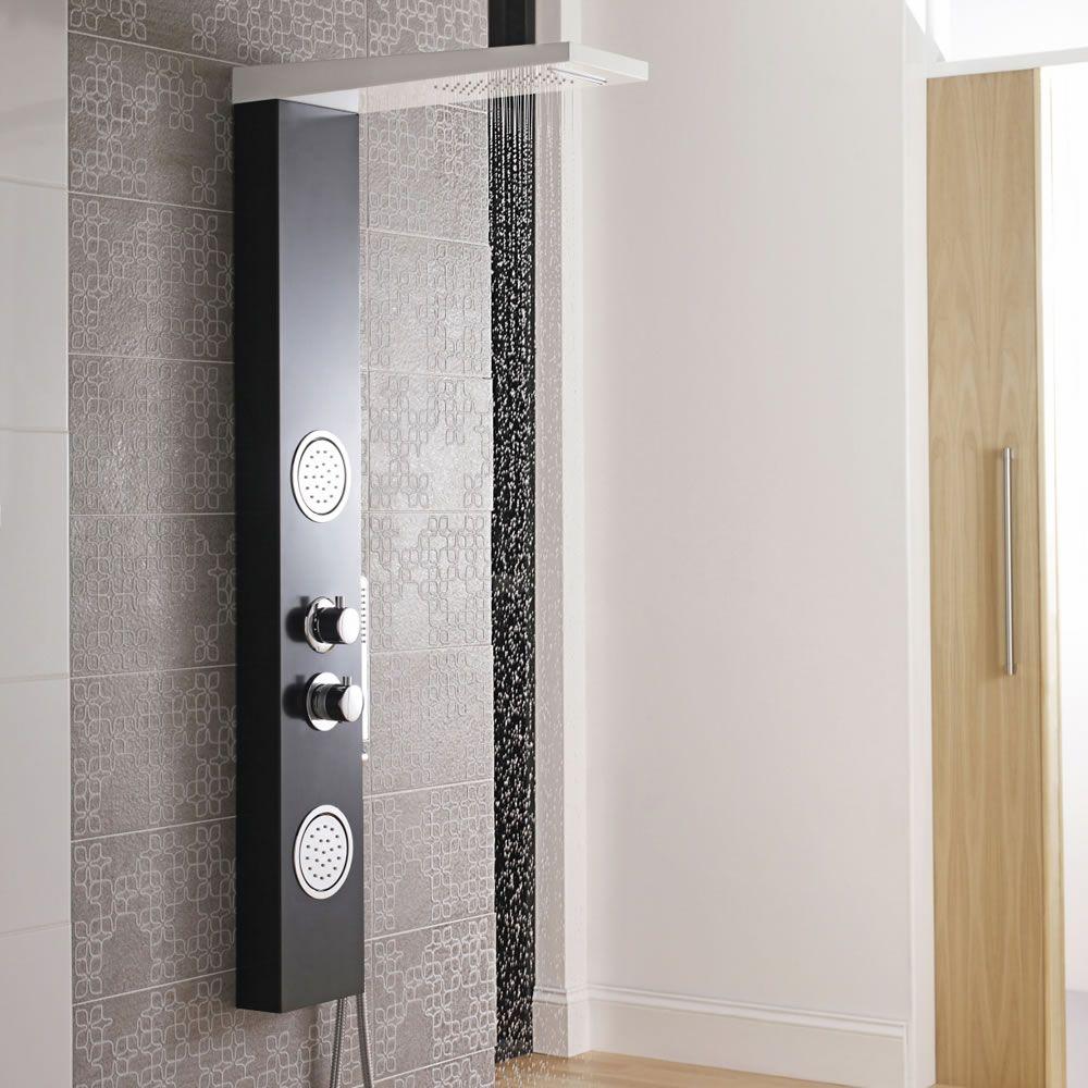 Panel de ducha termost tico blanco y negro con alcachofa for Ducha efecto lluvia precio