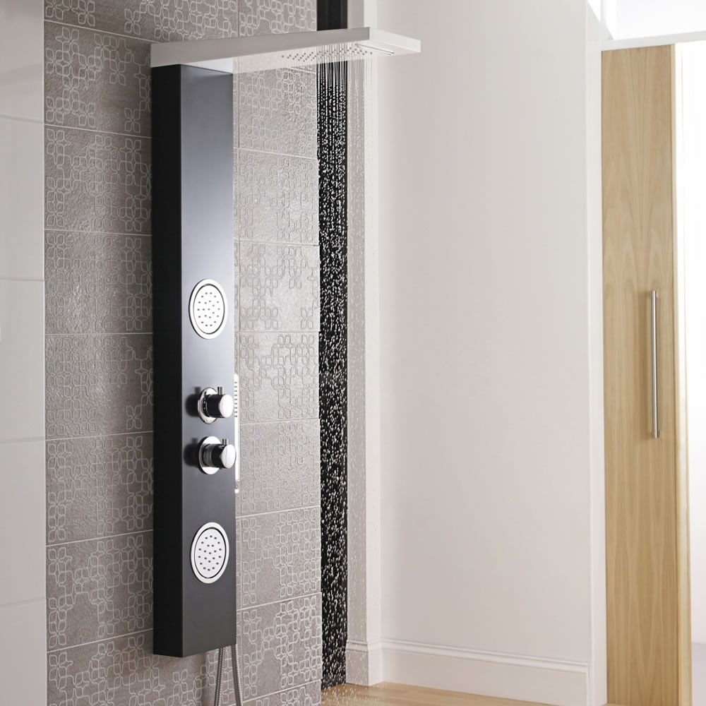 Panel de ducha termost tico blanco y negro con alcachofa for Ducha lluvia