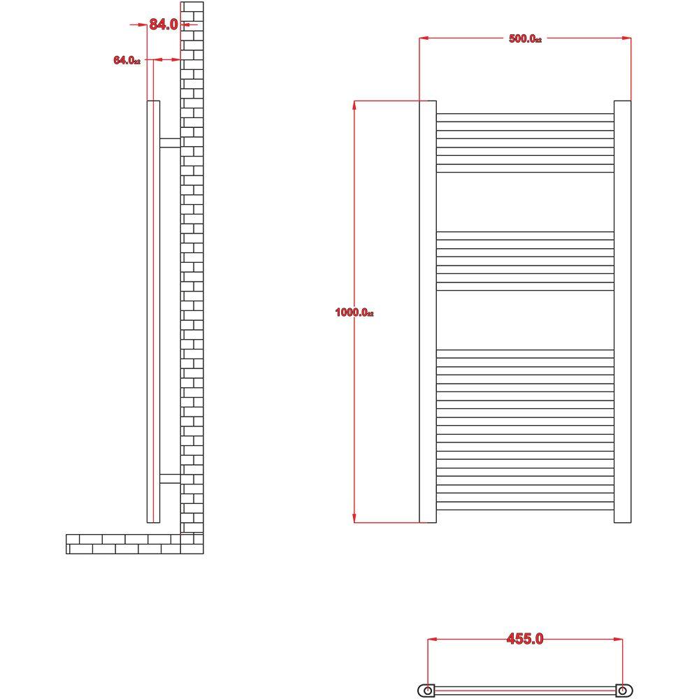 Radiador toallero el ctrico plano cromado 1000mm x for Radiador toallero cromado