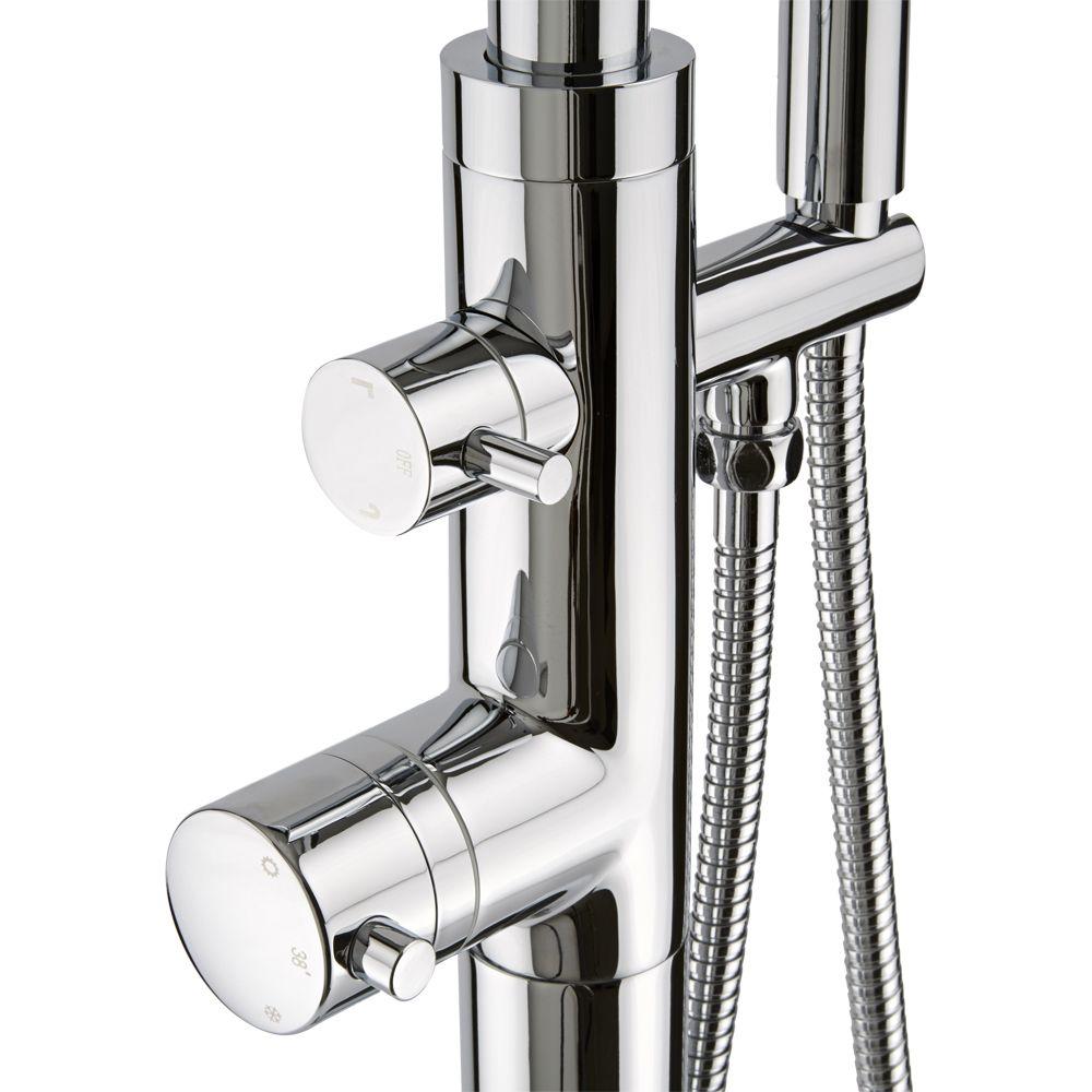 Grifo mezclador termost tico autoportante con ducha de for Grifo mezclador ducha