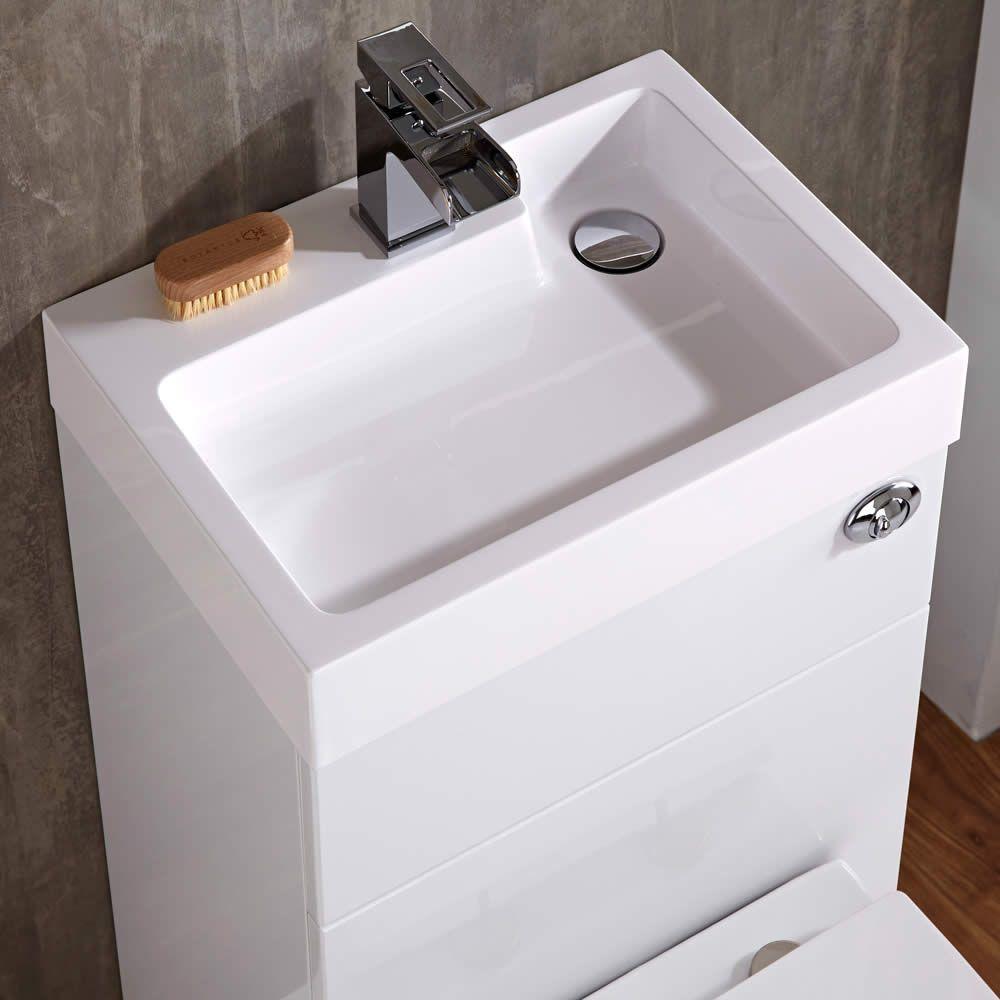 Conjunto ba o color blanco completo con lavabo e inodoro - Inodoro y lavabo en uno ...