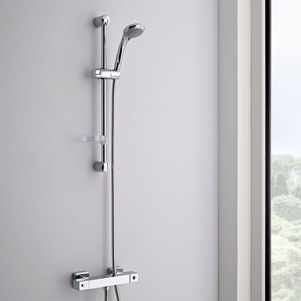 Conjunto de ducha completo con barra de ducha deslizante y for Termostato para ducha