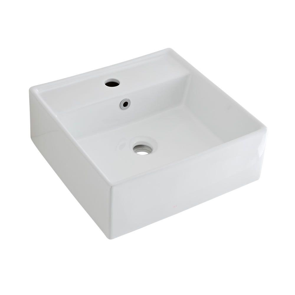 Lavabo suspendido cuadrado de cer mica 400x400mm halwell - Altura de lavabo suspendido ...
