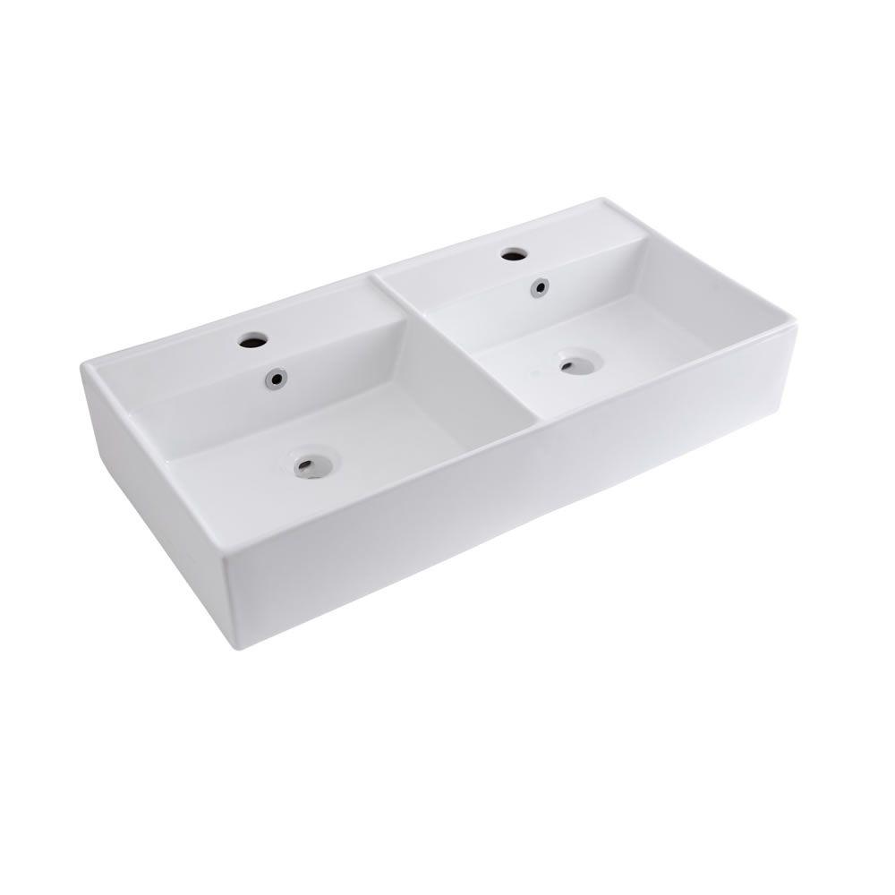 Lavabo sobre encimera rectangular doble de cer mica for Lavabo sobre encimera rectangular