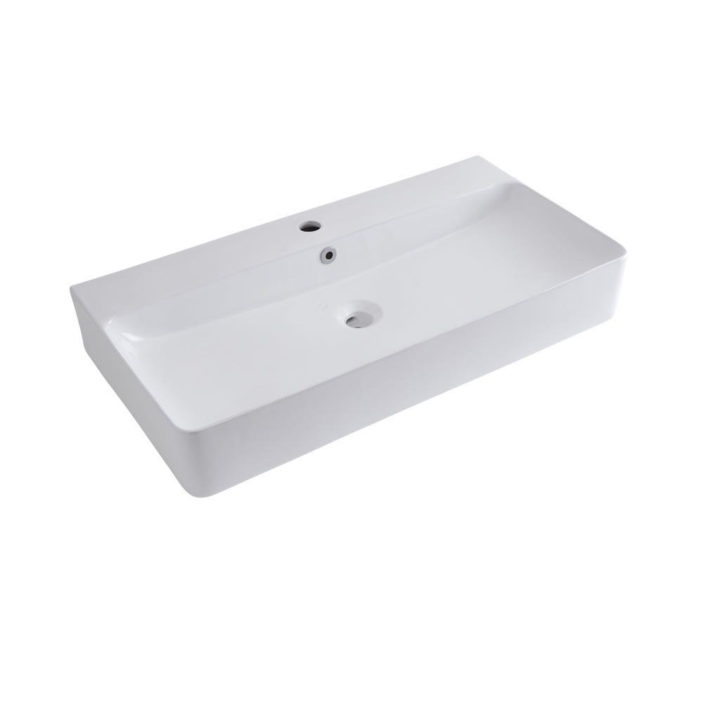Lavabo sobre encimera rectangular de cer mica 800x415mm for Lavabo sobre encimera rectangular
