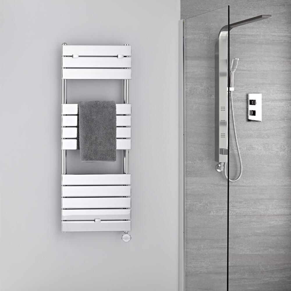 Radiador toallero el ctrico plano cromado 1213mm x for Radiador toallero cromado
