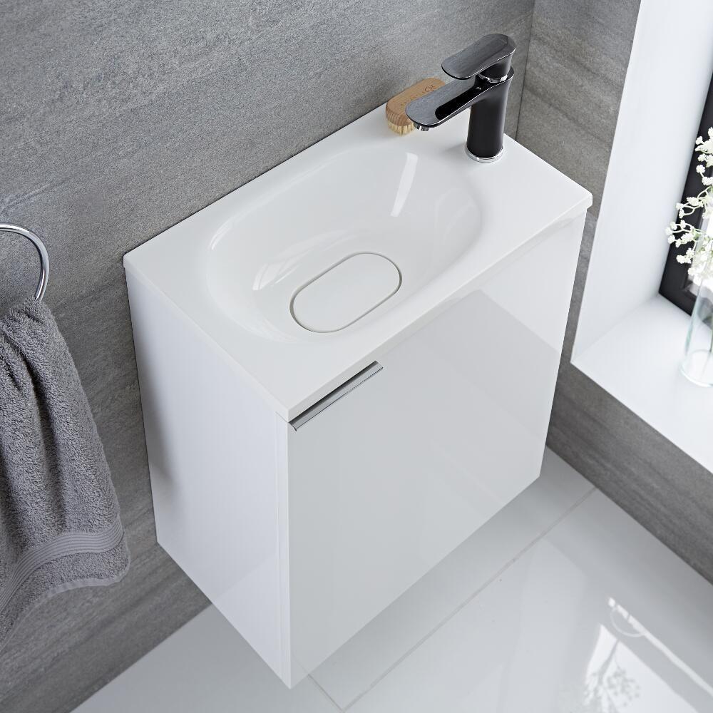 Mueble de lavabo suspendido con acabado color blanco - Mueble con lavabo ...