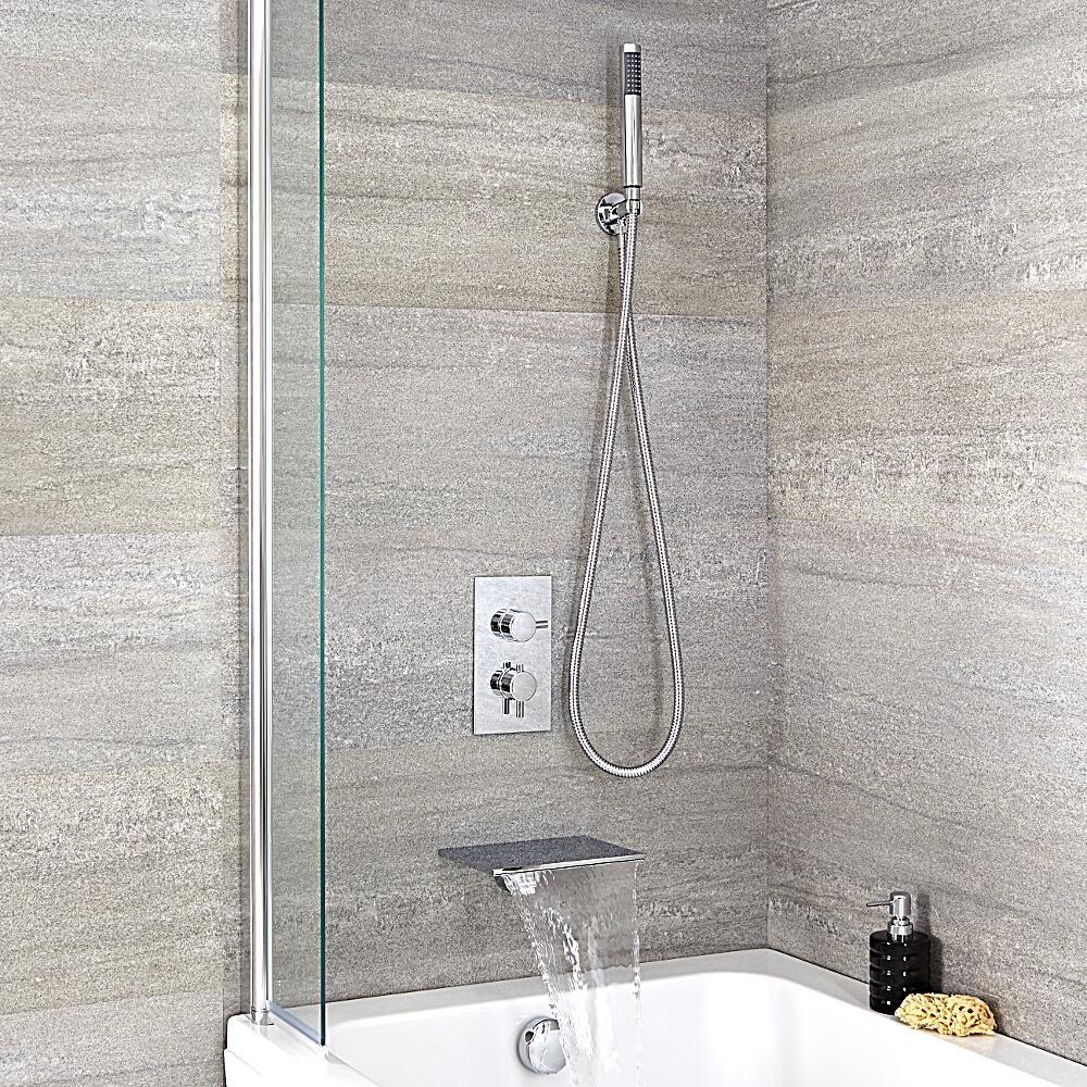 Conjunto de ducha termost tico de 2 funciones redondo con for Conjunto de ducha