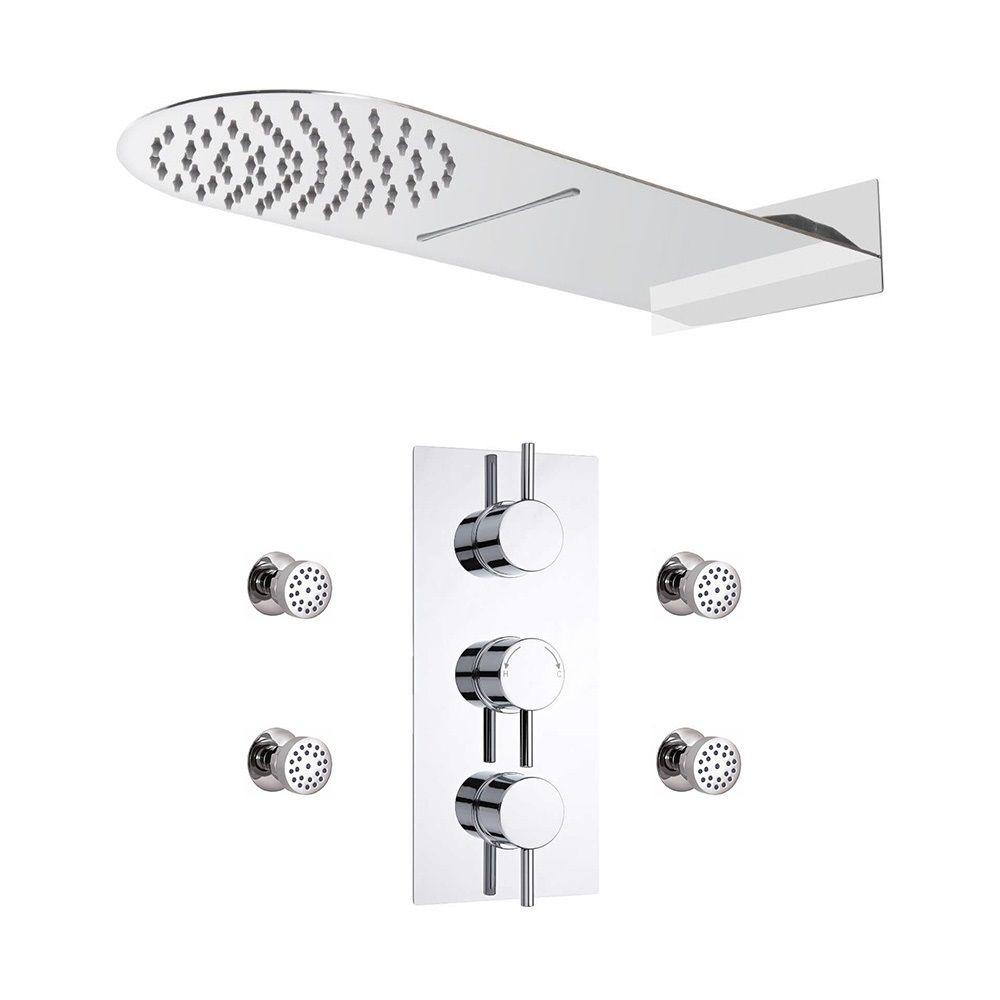 Conjunto de ducha termost tico triple de 3 funciones con for Alcachofa de ducha efecto lluvia