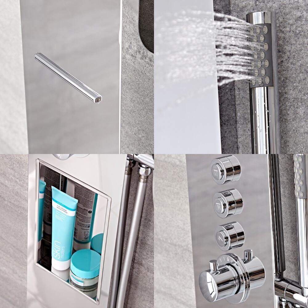 Panel de ducha termost tico de 3 funciones con erogador a - Duchas efecto lluvia ...
