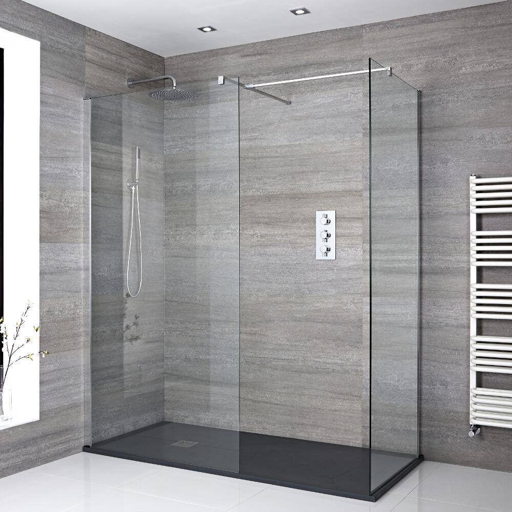 Mampara para ducha de obra de 1400x800mm con 2 hojas de for Mamparas de ducha de obra