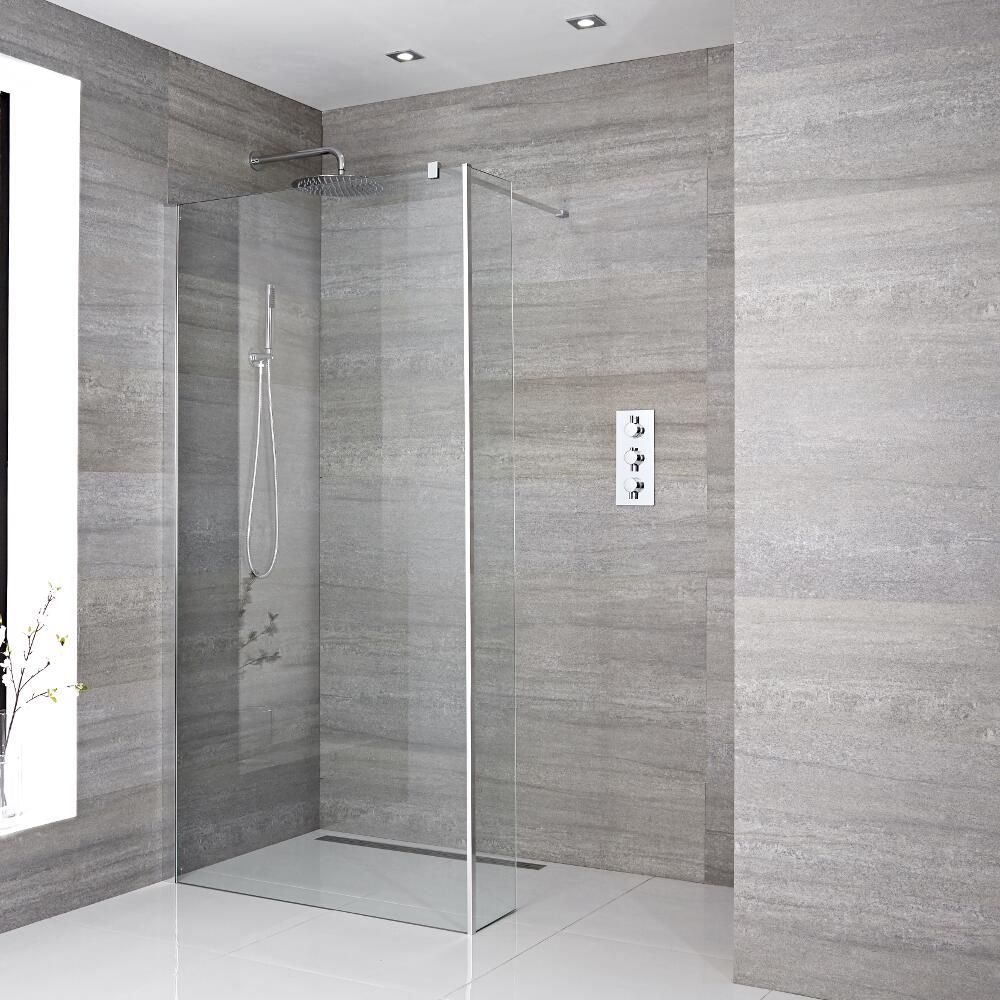 Mampara de ducha con hoja de ducha fija a ras del suelo de - Ideas para mamparas de ducha ...