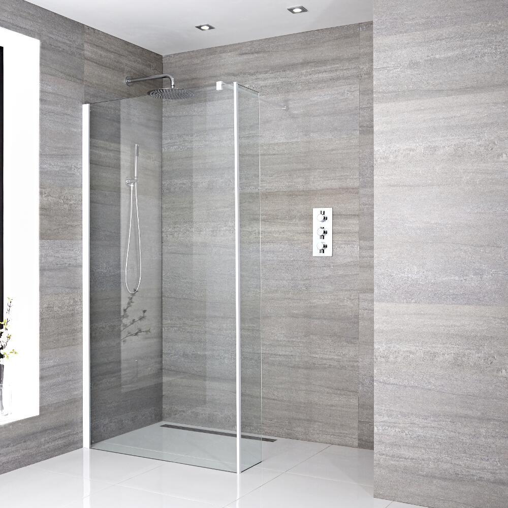 Mampara de ducha con hoja de ducha fija a ras del suelo de 1000mm con pared de ducha y sumidero - Duchas a ras de suelo ...