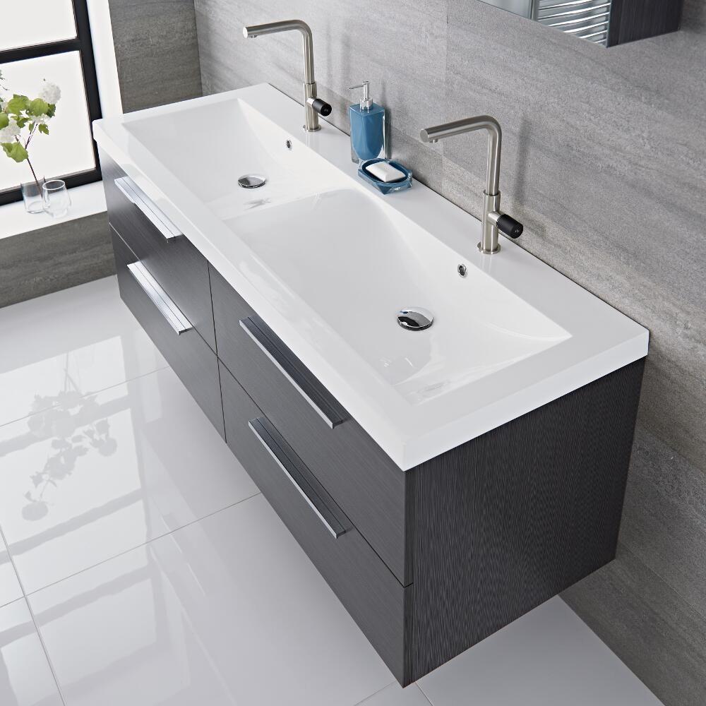 Mueble de lavabo suspendido doble con acabado color gris for Lavamanos suspendido