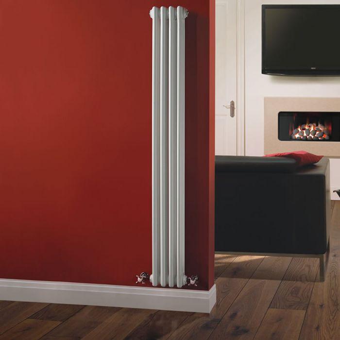 Radiador de Diseño Vertical Triple Tradicional - Blanco - 1500mm x 203mm x 100mm - 694 Vatios - Regent