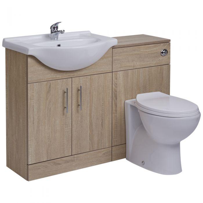 Mueble de Lavabo Efecto Roble con 2 Puertas e Inodoro Integrado 51x78x30cm
