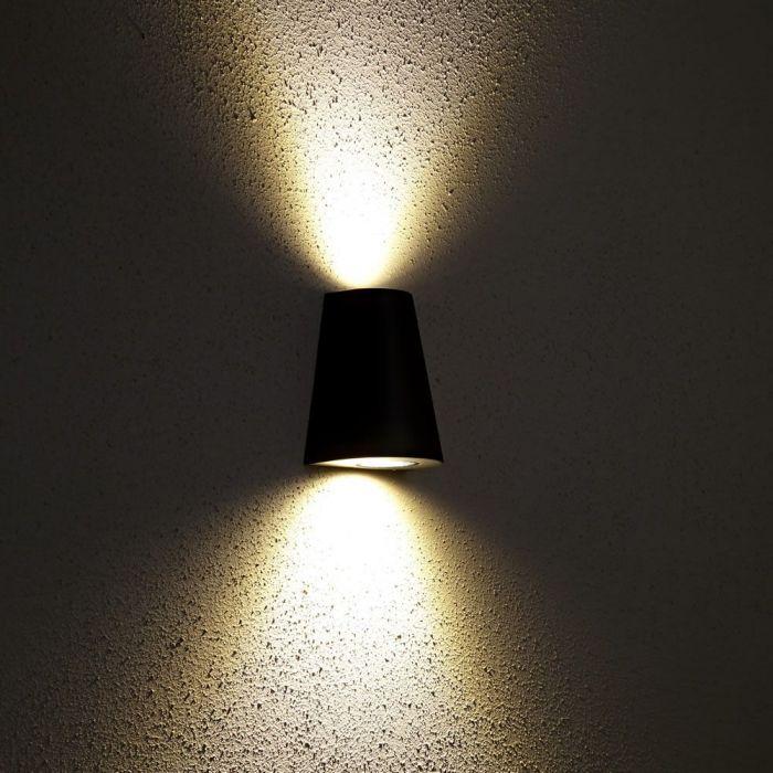 Apliqué de Pared Exterior con Luz Descendiente Diseño Cónico Color Negro