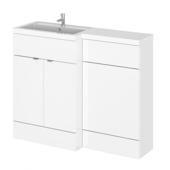 Mueble de Lavabo y WC Blanco de 1100mm Versión Izquierda