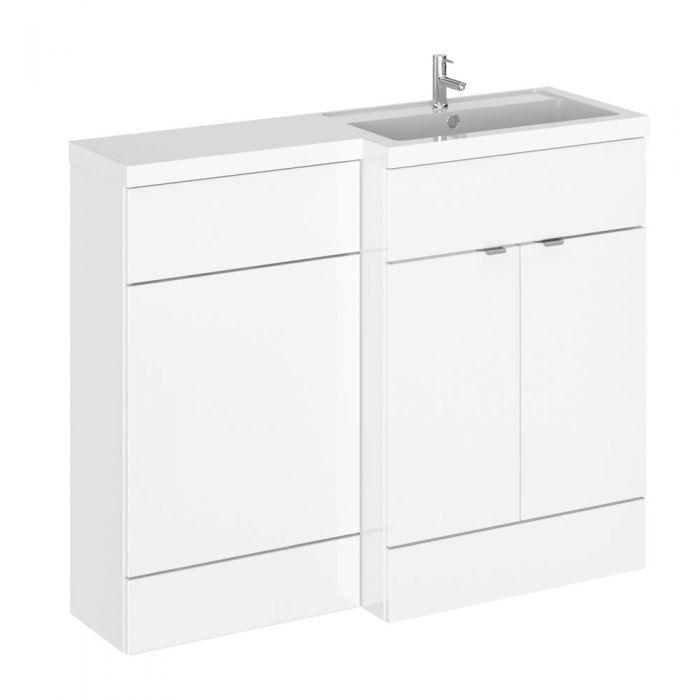 Mueble de Lavabo y WC Blanco de 1100mm Versión Derecha