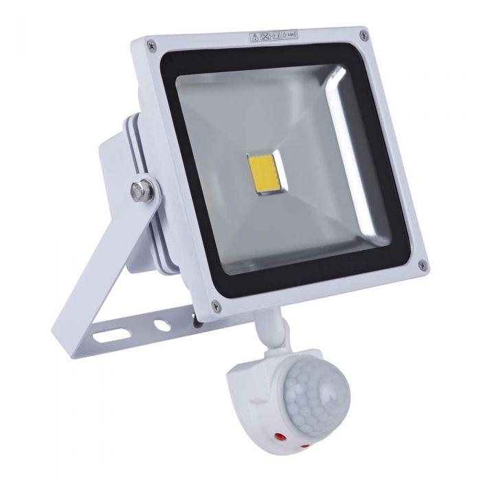 Foco Faro Proyector Compacto LED 30W con Sensor de Movimiento y Estructura Blanca