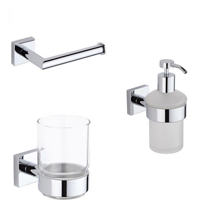 Conjunto de 3 Accesorios Modernos Para Cuarto de Baño - Liso