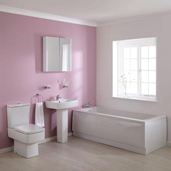 Conjunto de Baño Completo con Mueble de Lavabo, Bañera de 1700mm y WC