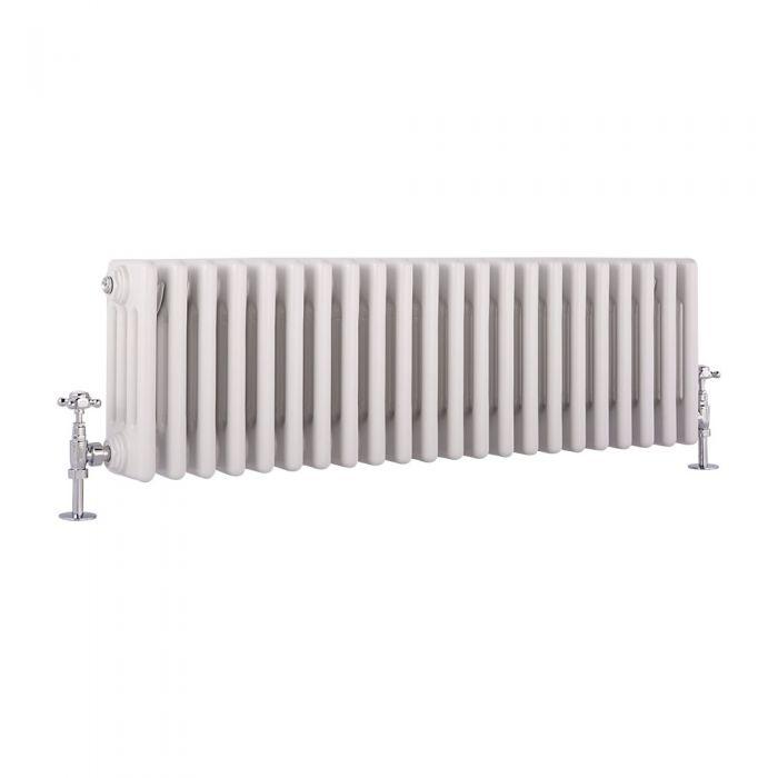 Radiador de Diseño Horizontal Cuádruple Tradicional - Blanco - 300mm x 990mm x 133mm - 1060 Vatios - Regent