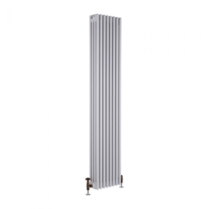 Radiador de Diseño Vertical Cuádruple Tradicional - Blanco - 1800mm x 360mm x 133mm - 2153 Vatios - Regent