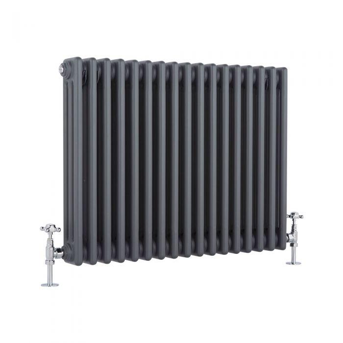 Radiador de Diseño Horizontal Triple Tradicional - Antracita - 600mm x 765mm x 100mm - 1386 Vatios - Regent