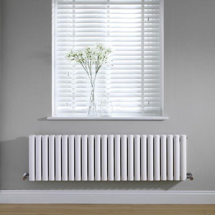 Radiador de Diseño Horizontal Doble - Blanco - 400mm x 1411mm x 78mm - 1653 Vatios - Revive