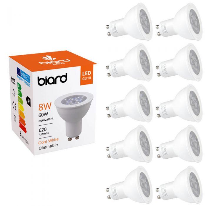 10 Focos Spot LED GU10 de Techo 8W con Intensidad Luminosa Ajustable