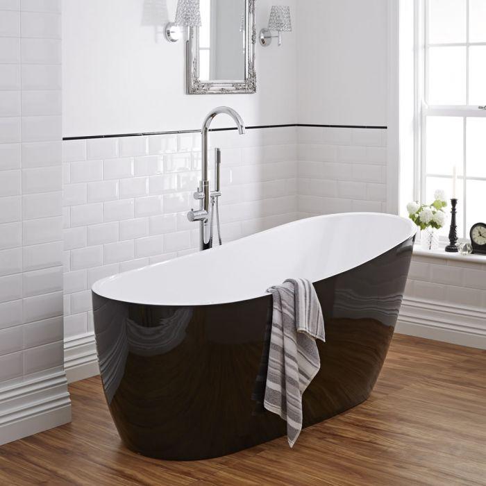 Bañera Acrílica Exenta Asimétrica Moderna Oval Color Blanco y Negro 1730x780mm