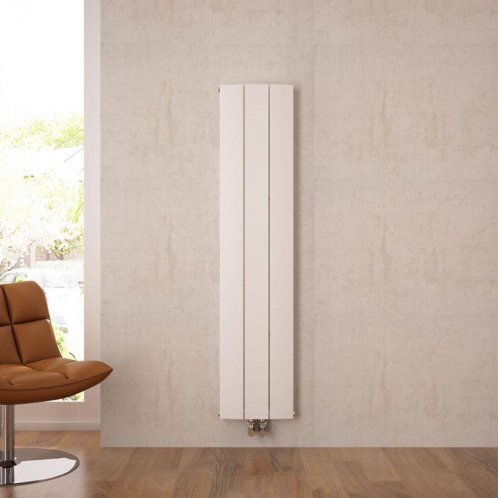 Radiador de Diseño Vertical Con Conexión Central - Aluminio - Blanco - 1600mm x 280mm x 45mm - 1021 Vatios - Aurora