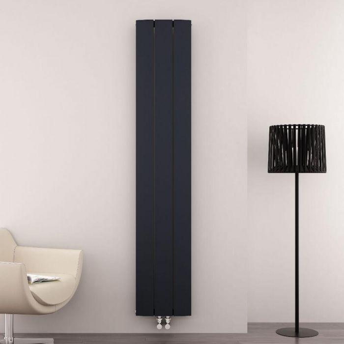 Radiador de Diseño Vertical Con Conexión Central - Aluminio - Antracita - 1800mm x 280mm x 45mm - 1152 Vatios - Aurora