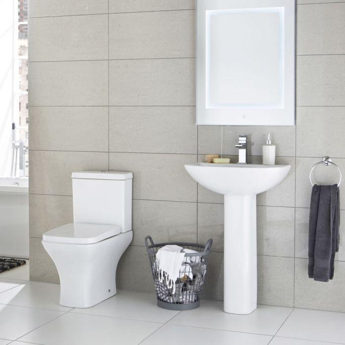 Conjunto de Baño Completo con Inodoro WC, Cisterna, Tapa y Lavabo de 550mm