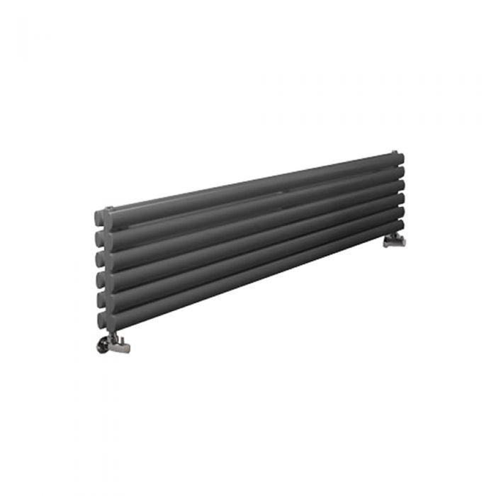 Radiador de Diseño Horizontal Doble - Antracita - 354mm x 1780mm x 78mm - 1324 Vatios - Revive