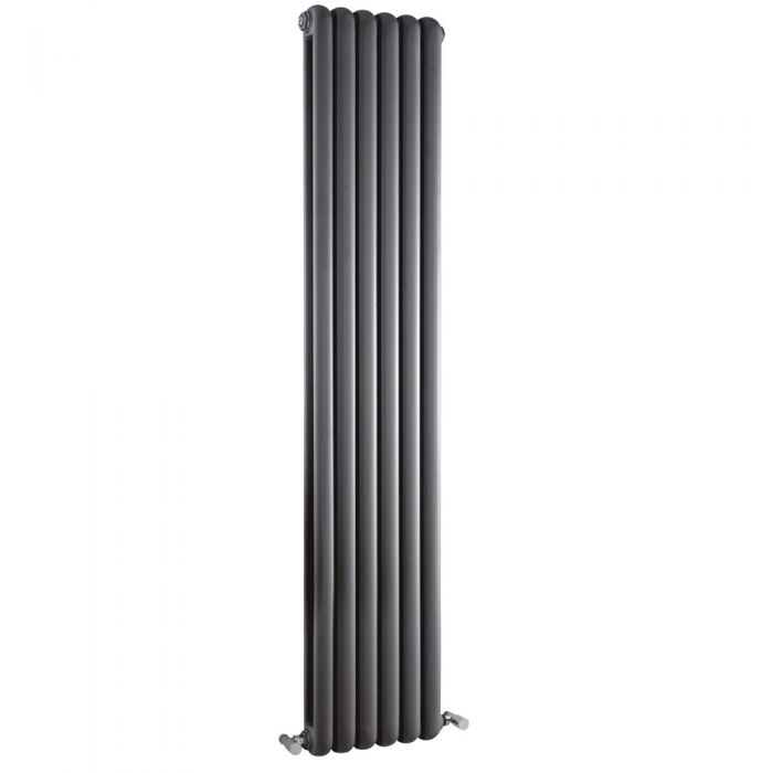 Radiador de Diseño Vertical Doble Tradicional - Antracita - 1800mm x 383mm x 80mm - 1489 Vatios - Saffre