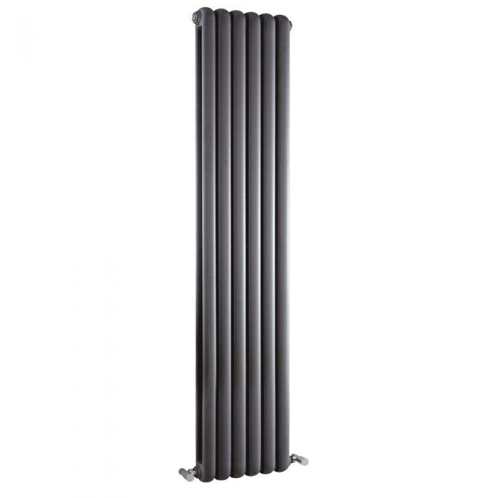 Radiador de Diseño Vertical Doble Tradicional - Antracita - 1500mm x 383mm x 80mm - 1671 Vatios - Saffre