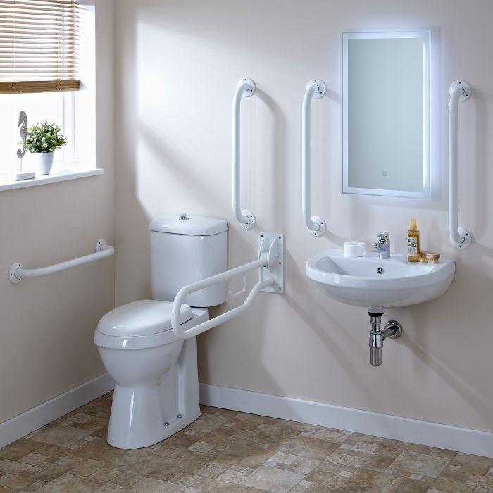 Pack de WC con Inodoro con Cisterna y Lavabo para Personas con Movilidad Reducida