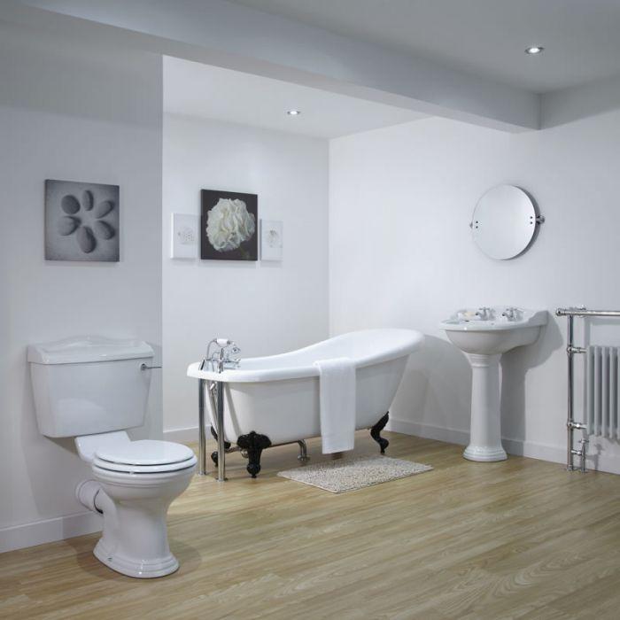 Conjunto de Cuarto de Baño Tradicional Completo con Bañera, Lavabo y WC