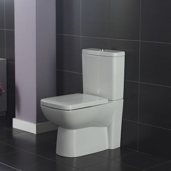 Conjunto de WC Completo con Inodoro Cisterna con Salida Horizontal y Tapa