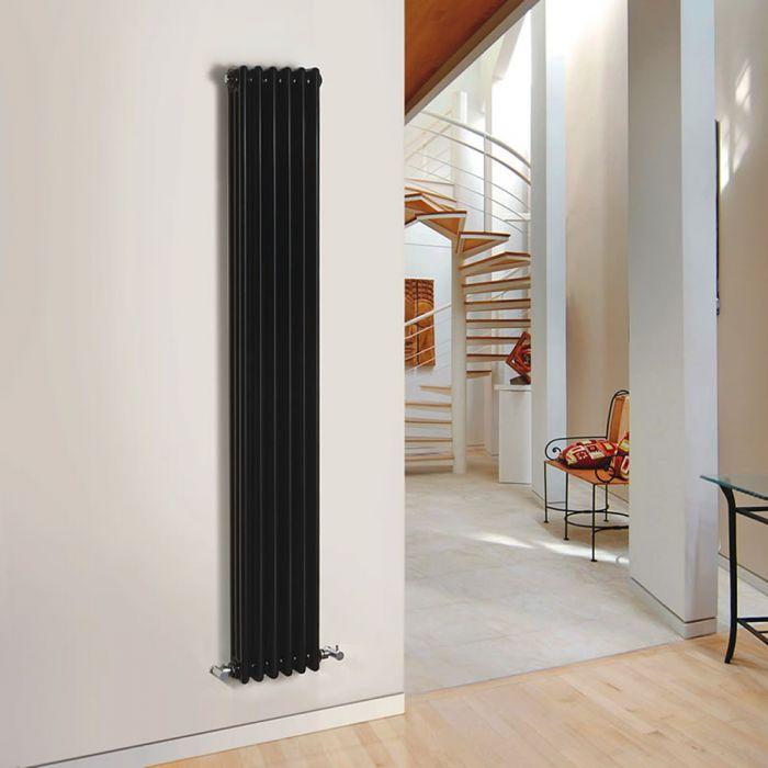 Radiador de Diseño Vertical Triple Tradicional - Negro - 1800mm x 293mm x 100mm - 1169 Vatios - Regent