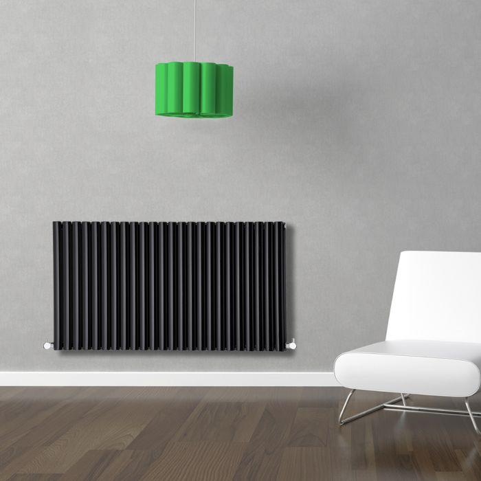Radiador de Diseño Horizontal Doble - Negro - 635mm x 1411mm x 78mm - 2235 Vatios - Revive