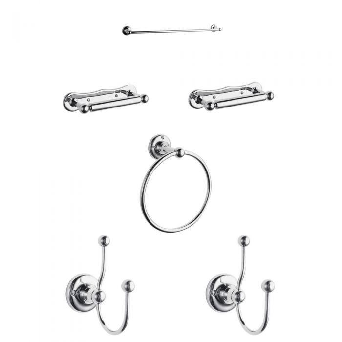 Conjunto de accesorios tradicionales para cuarto de baño de 6 piezas