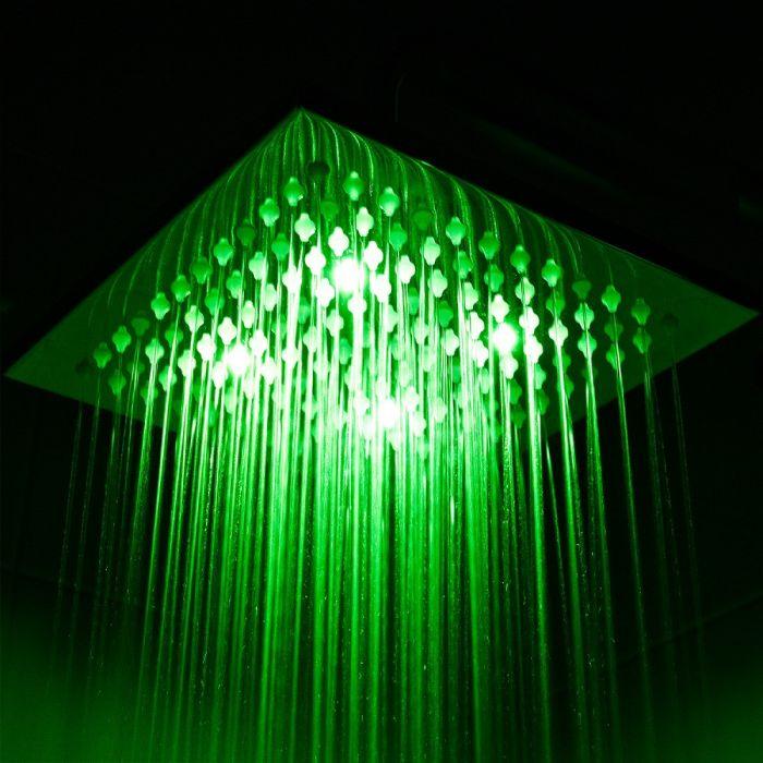 Alcachofa de Ducha LED Orientable Cuadrada en Acero Inoxidable de 200mm