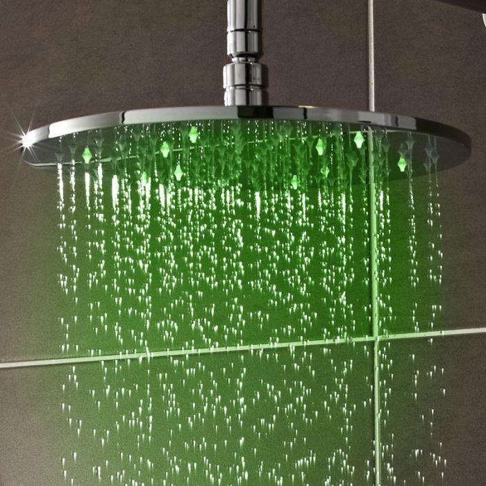 Alcachofa de Ducha LED Redonda Orientable en Acero Inoxidable de 200mm