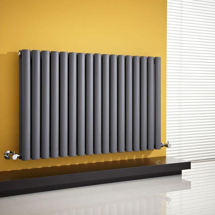 Radiador de Diseño Horizontal Doble - Antracita - 635mm x 1000mm x 78mm - 1583 Vatios - Revive