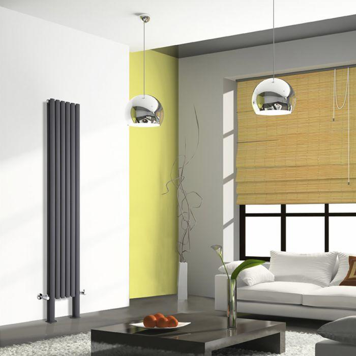Radiador de Diseño Vertical Doble Con Pies de Soporte - Antracita - 2000mm x 354mm x 78mm - 1401 Vatios - Revive Plus